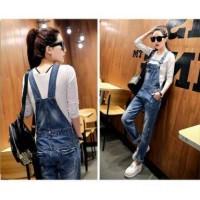 2197 Overall jumpsuit celana bahan jeans wanita baju casual santai
