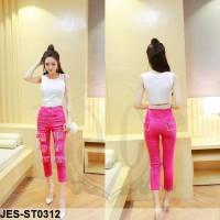 JES-ST0312 crop top ripped jeans denim import-baju celana wanita murah