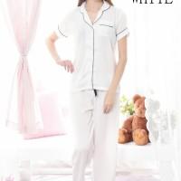 Baju cewek wanita tidur piyama celana panjang premium satin Putih