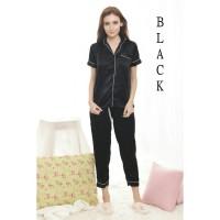 Baju cewek wanita tidur piyama celana panjang premium satin Hitam