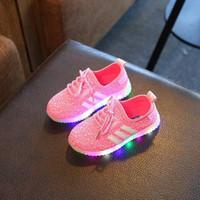 Jual Sepatu Sekolah Anak Lampu/Adidas Yeezy Boost/ LED Knit Stripes - Pink Murah