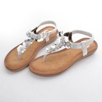 Sandal Chanel Casual T-Strap Manik Flower SILVER Semprem 6087