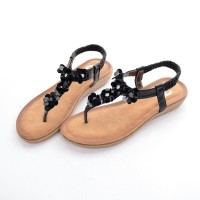 Sandal Chanel Casual T-Strap Manik Flower HITAM Semprem 6087