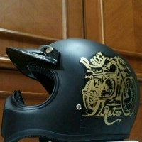 Helm Cakil Hitam Racer Retro Gold cc Honda CB Caferacer Japstyle