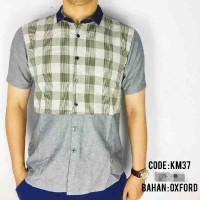 Harga pakaian busana pria baju kemeja pendek kerja kombinasi kotak   Hargalu.com