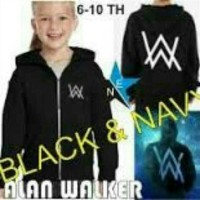 baju sweater jaket anak hoodie alan wolker hitam navy outwear 6-10 thn
