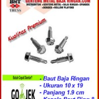 Skrup Baja Ringan 10x19 (Self Drilling Screw) Isi 100 Pcs