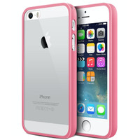 iBuy iPhone 5, 5s 5 Se Bumper Soft Pink Rubber Case With Clear Back