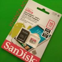 Jual MICRO SD SANDISK ULTRA 16GB CLASS 10 80MB/S Murah