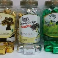 coklat pleasure,pengganti delfi treasure almond,cookies,green tea