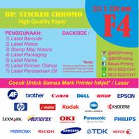 Kertas Sticker Chromo Polos / Label Stiker Glossy Ukuran F4