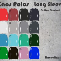 Jual Kaos Polos Cotton Combed 30s Long Sleeve size S M L Murah