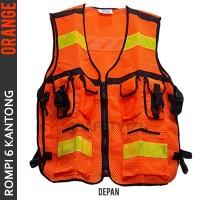 Rompi Jaring 6 Kantong Safety Vest Scotlight Scotlite Orange Stabilo