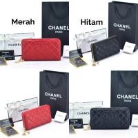 Dompet Chanel Zipper CC Lambskin Merah   Hitam -PREMIUM ORI-KULIT ASLI