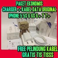 PAKET Charger Iphone 5 5s 6 6s 6+ Lightning Kabel Data Iphone Original