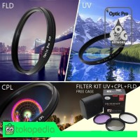 Filter Kit UV+CPL+FLD 58mm Aksesoris Lensa Canon Nikon Sony Free Case
