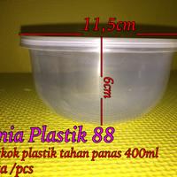 400ml mangkok plastik bulat + tutup tahan panas microwave thinwall