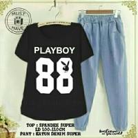 Set playboy denim black / SETELAN WANITA