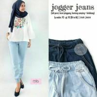 Jual jogger jeans pants light blue - celana murah - jogger - bawahan wanita Murah