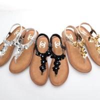 Sandal Chanel Casual T-Strap Manik Flower Semprem 6087