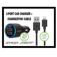 Dual Car Charger with Lightning to USB Cable 10 Watt 2.1 Amp Per Port