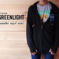 JAKET SWEATER DISTRO RAJUT ARIEL GREENLIGHT BLACK KEREN / HITAM