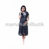 Dress Hamil Pesta Brokat Bunga Hitam Krah Satin Silky Cantik ( DRO 787