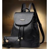 Tas Ransel + Dompet 2 in 1 Keren Backpack Wanita Pria Kulit Fashion