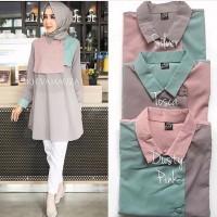 Heva tunik / blouse kerah long tunic murah pusat baju muslim wanita