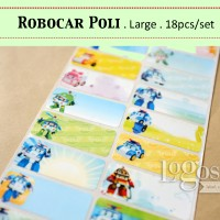 Robocar Poli LARGE Stiker label nama policar korea kartun transportasi