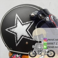 Helm Bogo Gix Nasa Star White / Black Doff / Retro