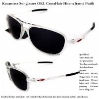 kacamata sunglasses pria okley crosshair hitam putih fullset
