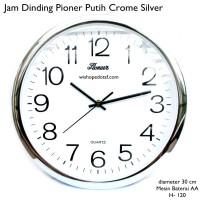 jam dinding pioner 30 cm putih crome silver