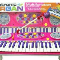Electronic Organ mainan edukasi/ Piano / Keyboard + Mic dan Tiang Mic