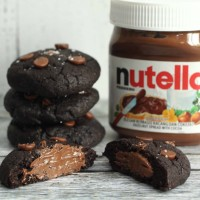 Nutella Stuffed Double Chocolate Chip Cookies