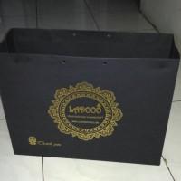 paper bag, paperbag Butik Warna hitam Jemani landscape + gambar sablon