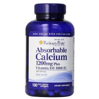Puritan Pride Absorbable Calcium 1200 mg with Vitamin D3 1000 IU 100
