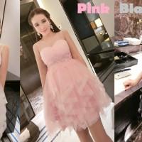 dress model elegant pesta premiun pink white black gaun kembang impor
