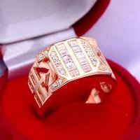 Cincin Pria Perak Sterling Berlapiskan Emas Kuning 012 (Free Box)