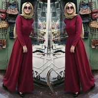 asd setelan st jumsuit js luna kulot maroon / baju wanita muslim