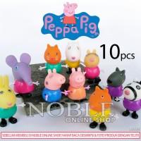 10 pcs Peppa Pig Figure-Babi Lucu-Pajangan-Animal-Toys/Mainan-LB038