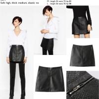42604 Black Quilted Leather Skirt / Rok Mini Kulit Hitam