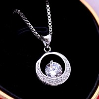 Jual Kalung Luxury White Gold Plated 101 (Free Rantai & Box & Pouch Cantik) Murah