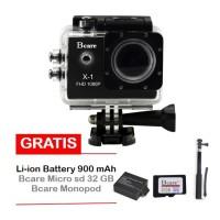 Bcare X-1 BCam 12 MP 1080 P- Hitam+microSD 32GB C10 +tongsis+Battery