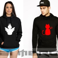 Sweater Hoodie Pullover Couple Angel And Devil Anime - K21