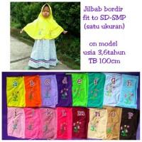 Jual jilbab serut Bordir anak sekolah SD SMP bahan kaos PE oranye Murah