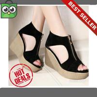 harga Promo Sepatu Sandal Wanita Cewek Wedges High Heels Suede Terlaris Tokopedia.com