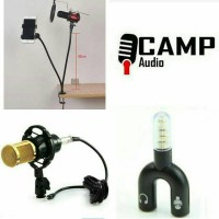Mic BM 800 + stand + pop filter + Holder hp + Splitter audio U