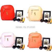 mini bag ransel ysl candy color stud studded rainbow wanita pink blue