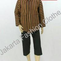 Setelan Paket Baju Surjan Lurik + Celana + Blangkon Pakaian Adat Jawa